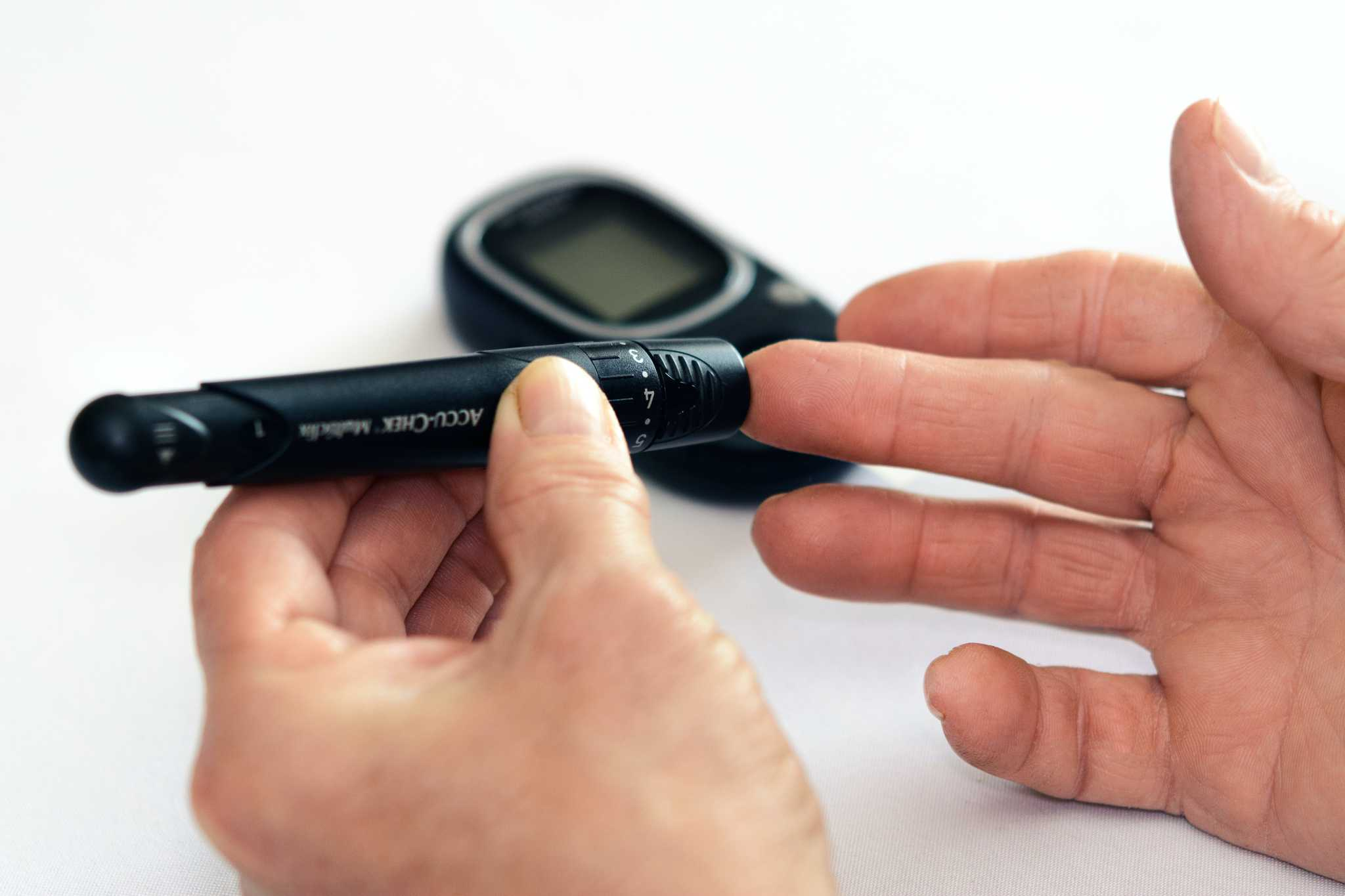 Person checking blood sugar level